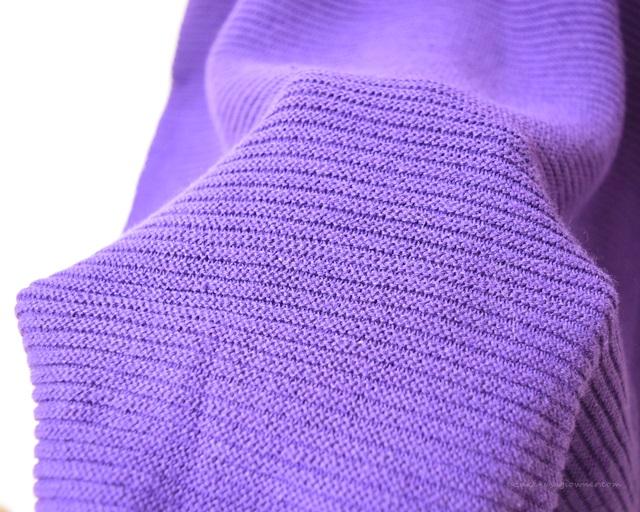 フェリシモで注文した、ガーター編み綿ニット(紫)
