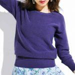 春の濃い紫が色っぽい。フェリシモ IEDIT[イディット] ガーター編みのコットンニット