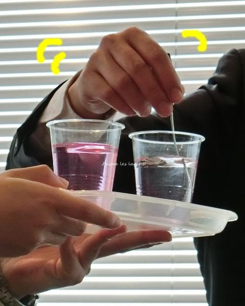 竹塩石鹸プレゼン中の実験