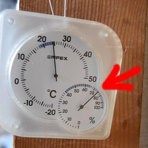 うさケージの温湿度計を居間に