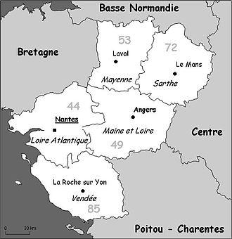 ペイ・ド・ラ・ロワール地方内の地図と名前