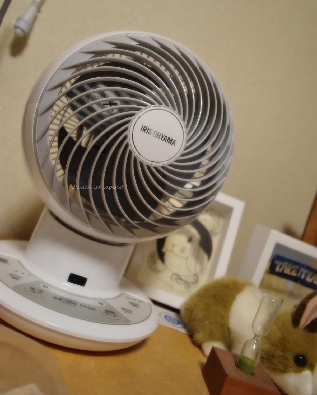 うさぎのケージ内室温調整に使う扇風機