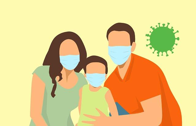 コロナウイルスから身を守る家族