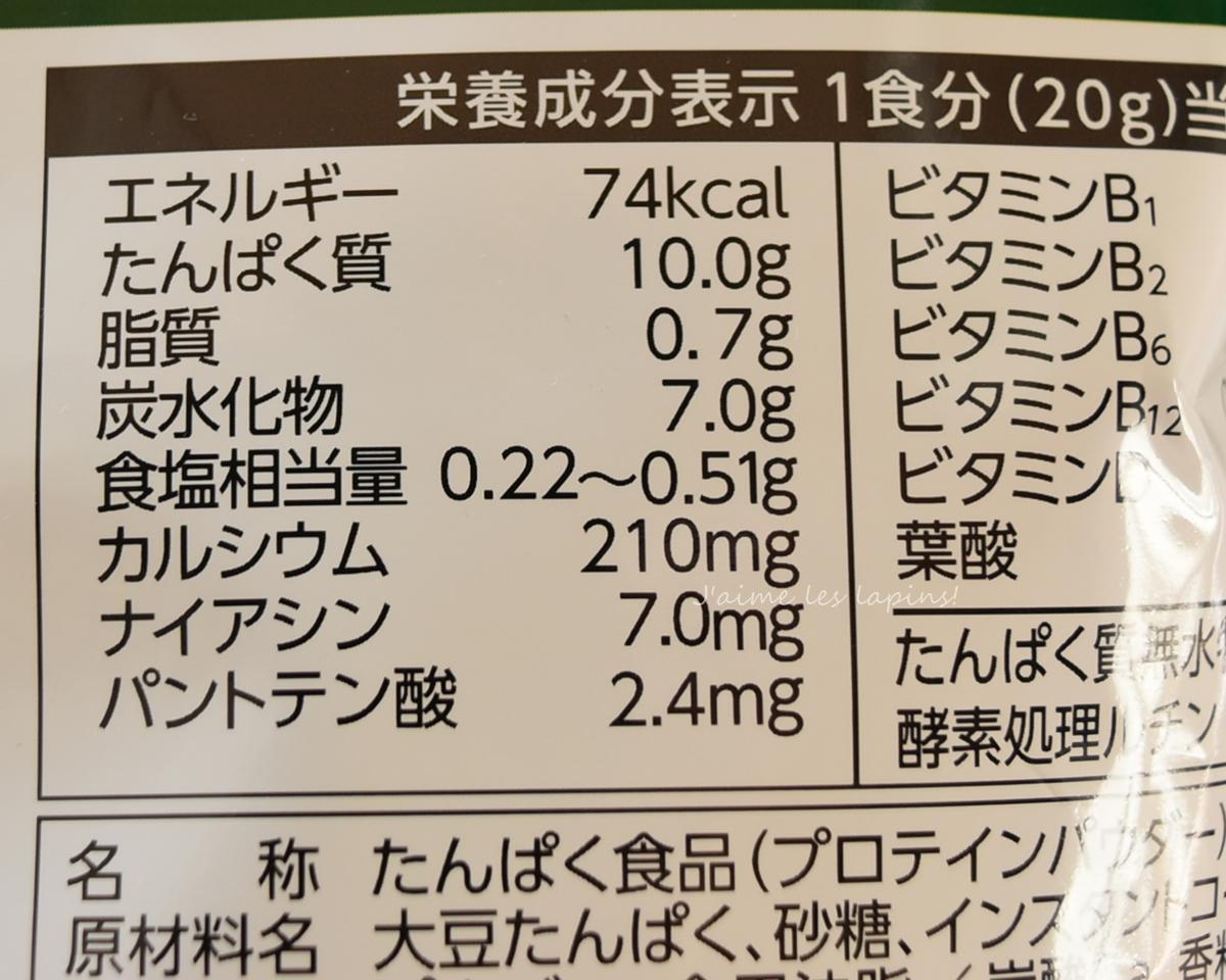 大豆プロテインの栄養成分表示