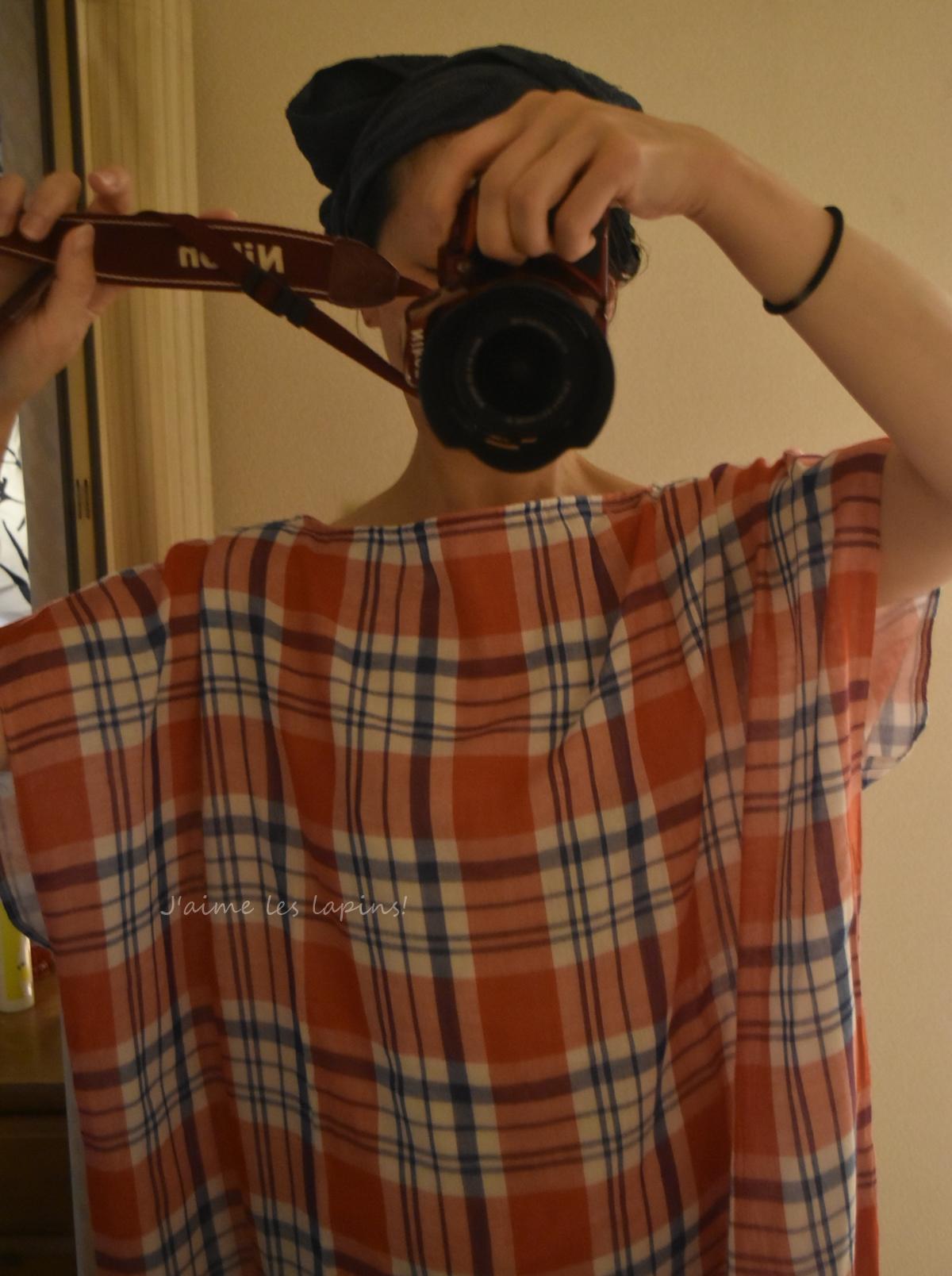 フェリシモ着るバスタオルを着ている